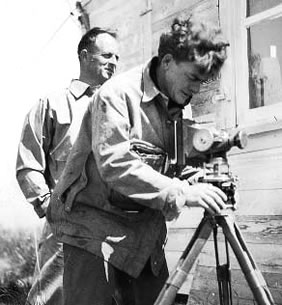 Gerry Andrews setting up a camera