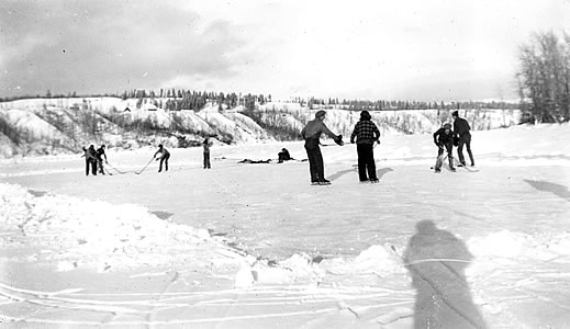 Playing hockey on the Peace River